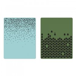 660044 - Sizzix Texture Fades Embossing Folders 2PK - Snowfall & Falling Trees Set by Tim Holtz